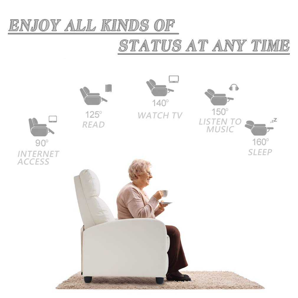 Beige Recliner Chair for Living Room Home Theater Seating Single Reclining Sofa Lounge with Padded Seat Backrest