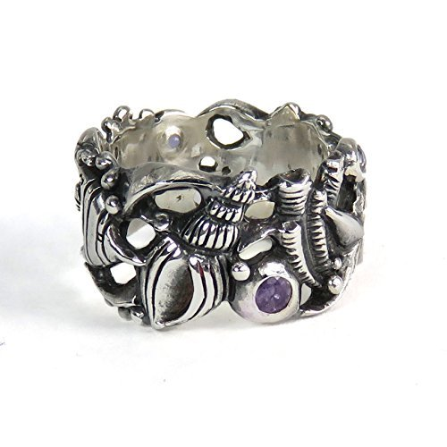 (Underwater World Ring with Iolites - Sculpted Sterling Silver Coral Reef and Fish Ring)