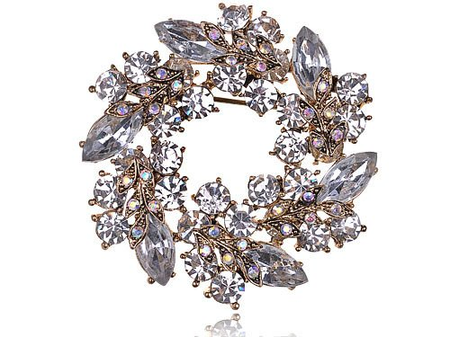 Alilang Womens Diamond Inspired Floral Wreath Holiday Christmas Old Fashion Brooch Pin