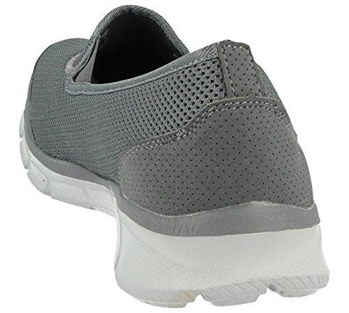 Ponerse Mujer Mens Ligero Deportes Mocasín Casual Caminar Para Grey Malla Entrenadores wpXqZw