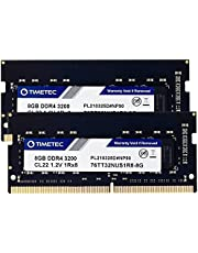 Timetec 16GB KIT(2x8GB) DDR4 3200MHz PC4-25600 Non-ECC Unbuffered 1.2V CL22 1Rx8 Single Rank 260 Pin SODIMM Compatible with AMD and Intel Gaming Laptop Notebook PC Computer Memory RAM Module Upgrade