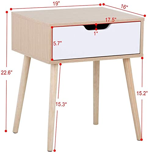 YAHEETECH End Side Table Nightstand with Storage Drawer Solid Wood Legs Living Room Bedroom Furniture 22.6in H