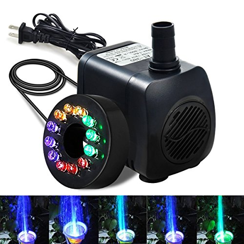 Submersible Fountain Pump, Intsun 220GPH(800L/H, 15W) Ultra Quiet Water Pump with 12 LED Colorful Light, 6ft Power Cord, 2 Nozzles for Fish Tank Aquarium Pond Pool Hydroponics