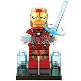 LipstickIndy® 1PIECE 2016 Brand New Iron man red Minifigure Superhero Action Figure with weapons