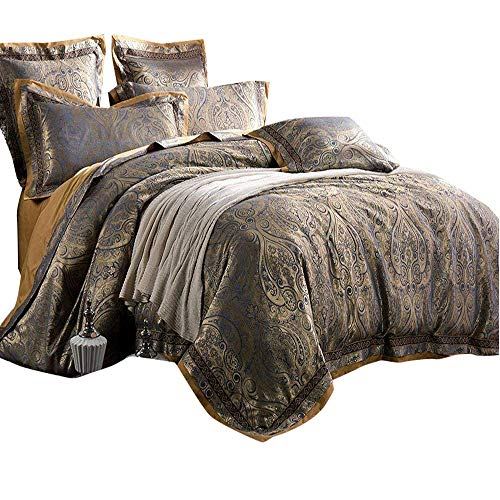 AMWAN Sateen Cotton Paisley Duvet Cover Set Queen Vintage Luxury Floral Bedding Set Full European Style 3 Piece Comforter Cover Set Noble Luxury Wedding Bedding Collection with 2 Pillow Shams (Bedding Sets Vintage Style)
