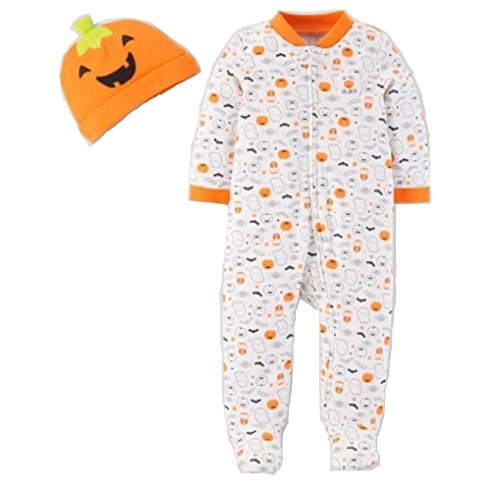 (Carter's Just One You Neutral Baby Halloween Pumpkin Ghost Print Sleep N' Play- Orange/White (3 Months))