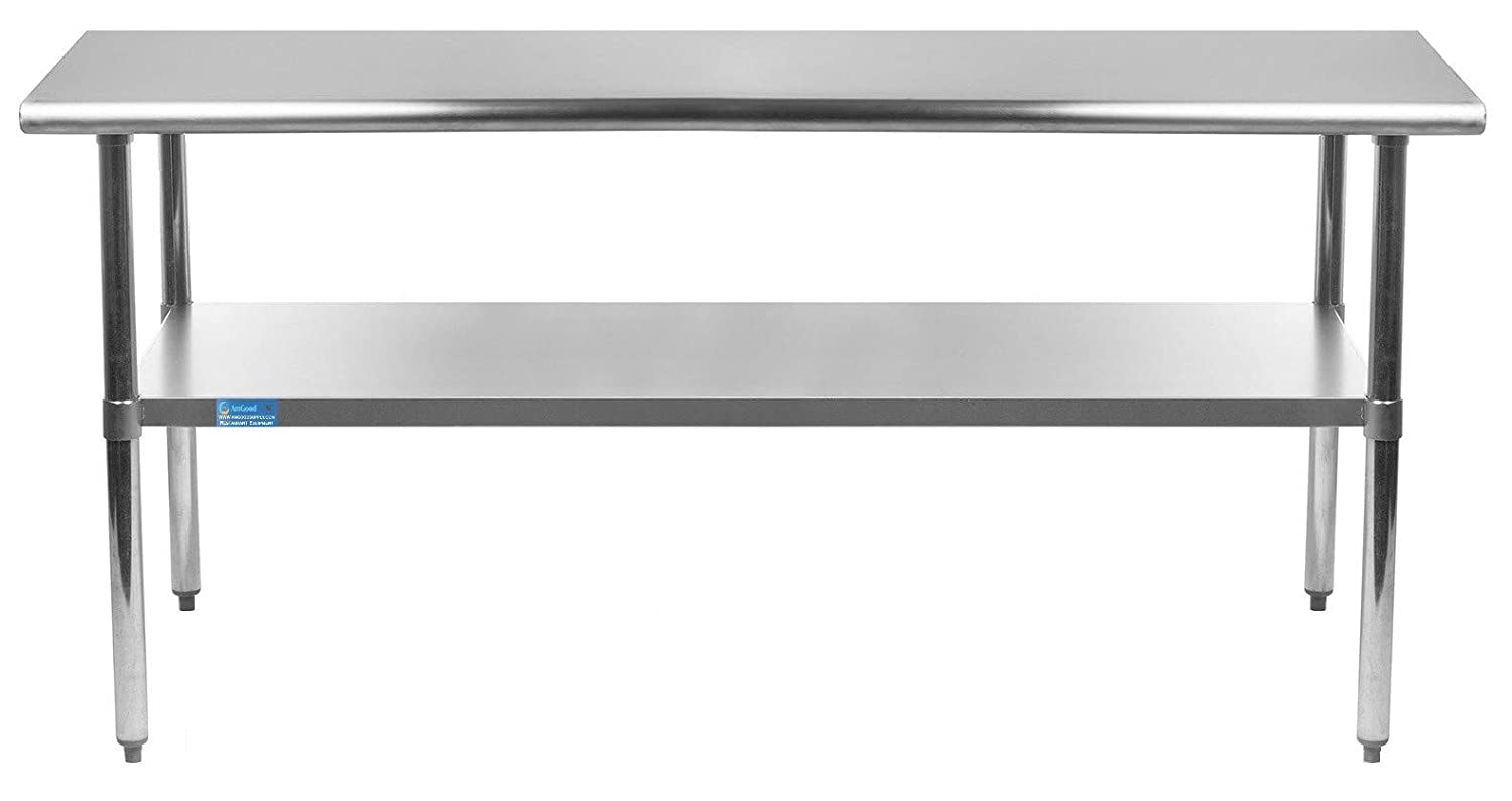 """AmGood 14"""" X 60"""" Stainless Steel Work Table with Under-Shelf 