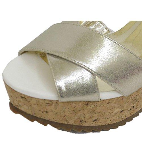Damen Dolcis Weiß Silber Kork Keilabsatz Absatzsandalen Peep-Toe Schuhe Größen 3-8