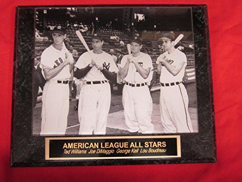 Joe DiMaggio Ted Williams George Kell Lou Boudreau Collector Plaque w/RARE 8x10 Photo!