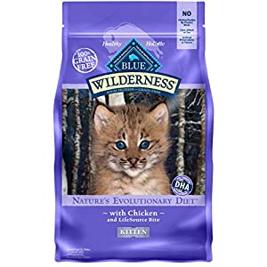 Blue Buffalo Wilderness High Protein Grain Free, Natural Kitten Dry Cat Food, Chicken 5-lb 50