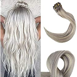 "Full Shine 16"" Human Hair Thick Clip In Ombre Hair Extensions Color #19A Ash Blonde Fading To Color #60 White Blonde 10Pcs Clip In Remy Hair"