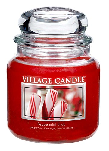 Village Candle Peppermint Stick 16 oz Glass Jar Scented Candle, Medium