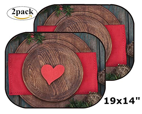 (MSD Car Sun Shade Side Window Sunshade Auto 19 x 14 Universal Fit 2 Pack, Block Sun Glare, UV and Heat, Protect Car Interior, Image ID: 22677811 Christmas Rustic Ornaments and fir Tree Xmas Vintage c)