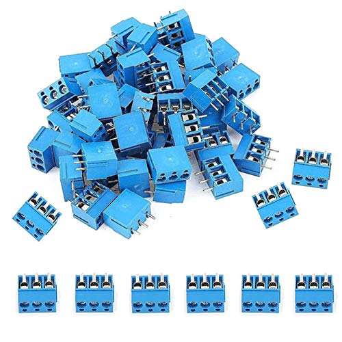 SamIdea 60pcs 3P 5.08mm Pitch 3Pin PCB Mount Screw Terminal Block Arduino Socket Strips,Blue