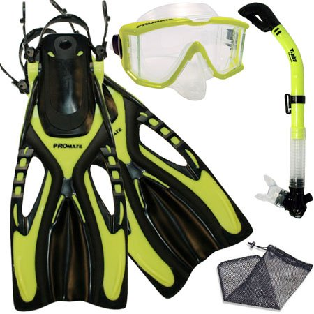 PROMATE Snorkeling Scuba Dive SIDE-VIEWED PURGE Mask Fins Dry Snorkel Gear Set, Yel, MLXL