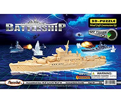 Puzzled Battleship and Aircraft Carrier Wooden 3D Puzzle Construction Kit