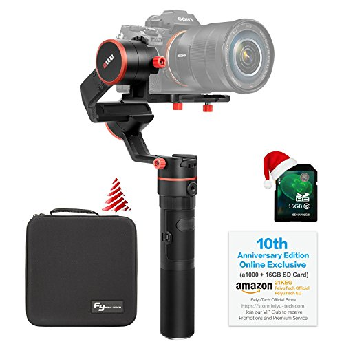 FeiyuTech a1000(10th Anniversary Edition) 3-Axis Gimbal, Compatible with NIKON/SONY/CANON Series DSLR Camera/GoPro Action Camera/Smartphone,1 KG Payload,Damping Sliding Arm,45 Degree Elevation Design by FeiyuTech