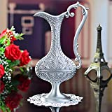 Pewter Plated With Handle Metal Flower Vase Finish Plant Creative Container Indoor Office Home Decoration