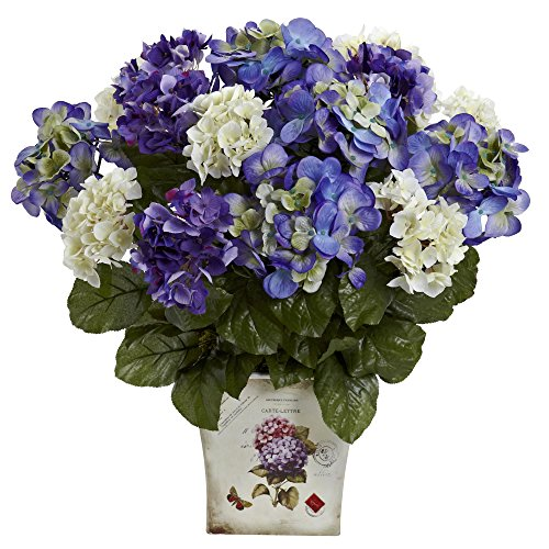 Nearly Natural 1378-BP Mixed Hydrangea with Floral Planter, Blue/Purple