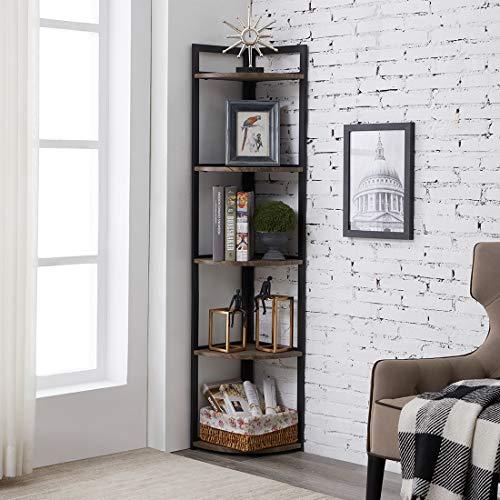 PRAISUN Corner Display Shelf, Industrial Bookshelf, Opening Bookcase for Living Room, Decorative Space Saver, Free…