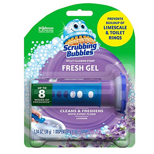Scrubbing Bubbles Fresh Gel Toilet Bowl Cleaning Stamps, Gel Cleaner, Helps Prevent Limescale and Toilet Rings, Lavender Scent, 8 Stamps