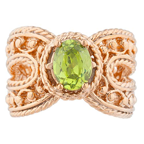 1.5 Ct Simulated Peridot Oval Cocktail Design Ring 14Kt Rose Gold Plated Over .925 Sterling Silver ()