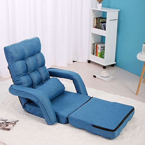 LAZYMOON Adjustable Blue Fabric Folding Chaise Lounge Sofa Chair Floor Couch with Armrest and Pillow