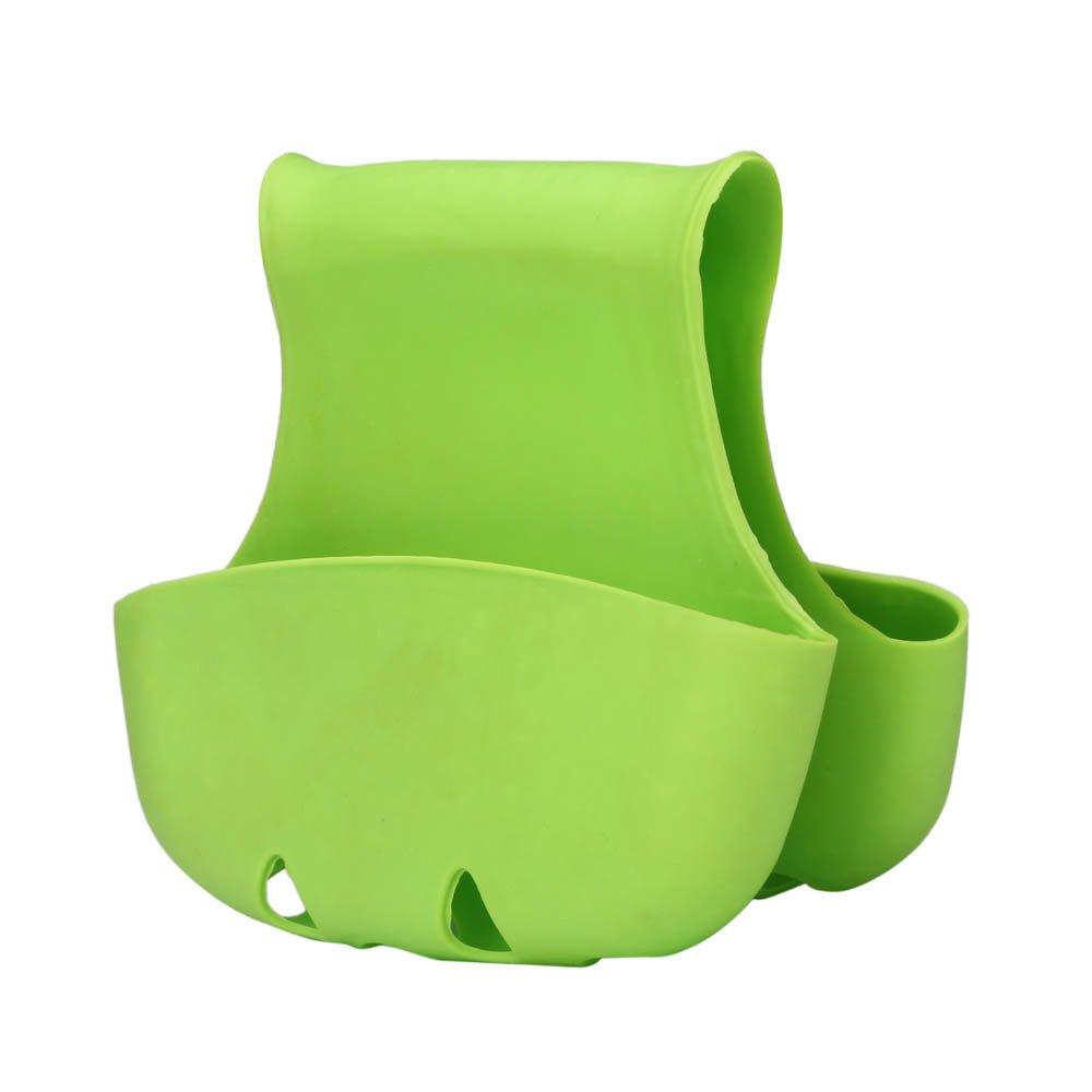 Connia Kitchen Supplies Double Sink Caddy Saddle Style Kitchen Organizer Storage Sponge Holder Rack Tool (Green)