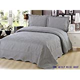 Quilt Queen Size 3 pc Bedding Bed set / Bedspread / Embroidered / 2 pillow sham (Gray)