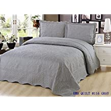 Quilt King Size 3 pc Bedding Bed set / Bedspread Coverlet / Embroidered / 2 pillow sham (Gray)