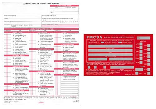 Multipack Bundle Lot 10 Each J.J. Keller 3128 (400-FS-C3) Annual Vehicle Inspection Report + 1340 (54SN) Label