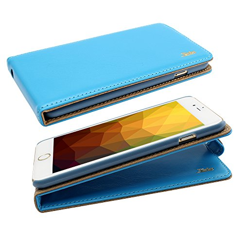 Nice Iphone 6 Ultra-Soft Genuine Light Blue Leather Flip Case Cover with Two Card Slot for Apple Iphone 6 by G4GADGET®