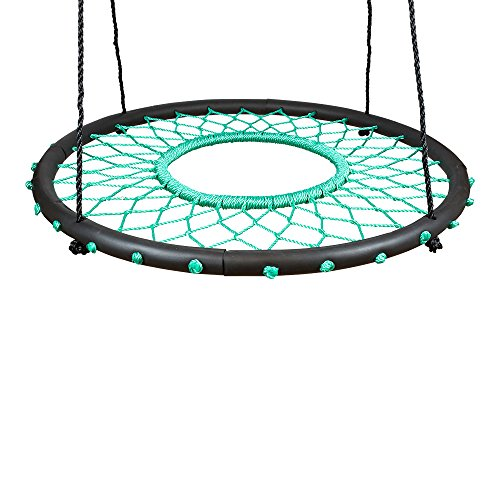 """SWINGING MONKEY PRODUCTS Tarzan Tire 40"""" Spider Web Swing, Green - Tree Swing, Redesigned Tire Swing, Extra Safe and Durable, Swing with Friends, Easy Install for Swing Set or Tree"""