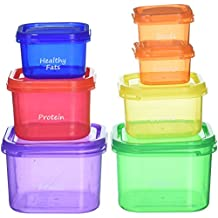 FitGenius Labeled Portion Control Containers (7-Piece Set) - Color-Coded, Meal Prep Containers - Perfect for Diet, Weight Loss & Weight Control programs. Comparable to 21 Day Fix containers.
