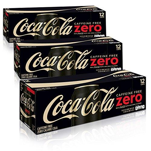 Caffeine Free Beverages - Caffeine Free Coke Zero Fridge Pack Bundle, 12 fl oz, 36 Pack