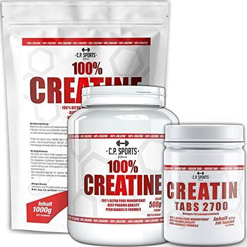C.P. Sports 100% Creatin Pulver vegan 500g, 1000g, 5000g und Kapseln, Monohydrate, Qualität aus Deutschland - für Kraftsport, Bodybuilding - Kreatin Monohydrat