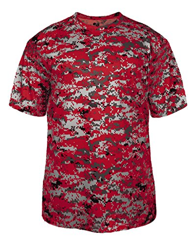 Badger Baseball Jersey - Adult Large Red Digi-Camo Moisture Wicking Jersey Uniform Shirt