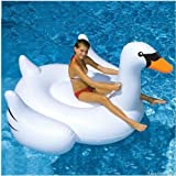 Labu Store Inflatable Swimming Pool Float Summer Lake Swimming Lounge Pool Kid Giant Rideable White Inflatable Swan Design Toys Float Raft