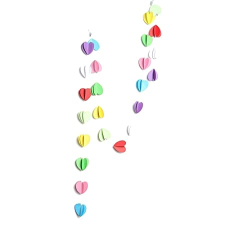 2m Heart Flower Circle Paper Garland Bunting Drop For Party Baby