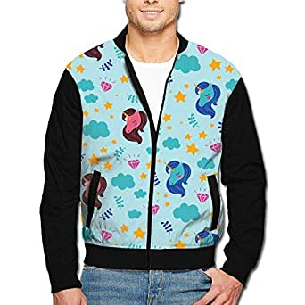 Unicorn Clouds Diamonds Men's Polyester Stand Collar Front Zip Jacket