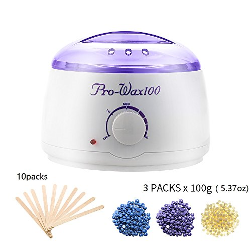 Hair Removal Wax Warmer Kit Electric Hot Wax Heather with 3 Different Flavors Hard Wax Beans and 10 Wax Applicator Sticks