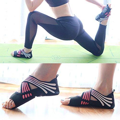de Yoga Zapatos Blando Profesionales para Zapatos Antideslizantes,Pilates Bolsa Fondo de Yoga de Embalaje de Antideslizantes Zapatos Mujeres Rosa con LeKing Dedos,Calcetines Cinco OPP 36 de Yoga de 35 qYOnqd