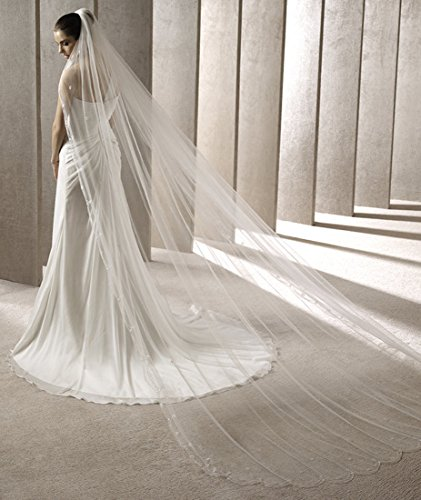 Passat Ivory 2 Tiers 10M NEW! Floral Beaded Scallop Edge Cathedral Wedding Bridal Veil 224 by Passat