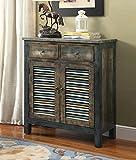 "Major-Q 9097253 35"" H Vintage Style Rectangular Antique Oak Teal Finish 2-Drawer 2-Door Wooden Console Table"