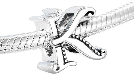 925 Sterling Silver Initial Alphabet Letter Beads Fit European Charm Bracelet