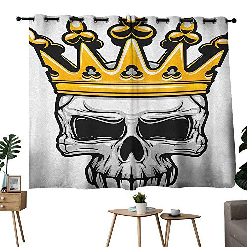 homecoco King Grommets Bedroom Darkening Curtains Hand Drawn Crowned Skull Cranium with Coronet Tiara Halloween Themed Image Curtain for Kids Room Golden and Pale Grey W55 x L39