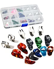 ROSENICE Stainless Steel Celluloid Thumb Finger Guitar Picks with 15 Grid Case Storage Box 15pcs