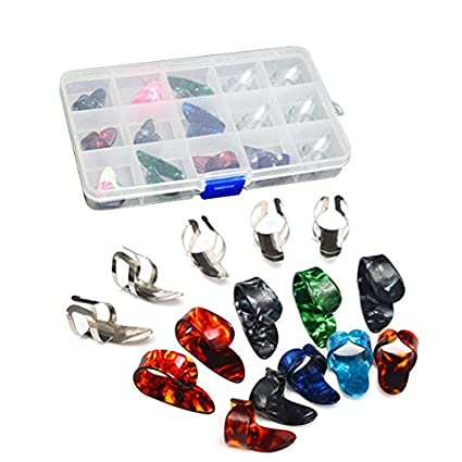 ULTNICE 15pcs Finger Pick Thumb Pick Set Guitar Picks With 15 Grid Case  Storage Box