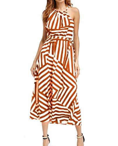 Comodo Modo Di Arancione Maxi Casuale Vestito Strisce A Cami Larghi Pendolo Grande Donne ad6Oww