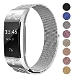 SWEES Metal Bands Compatible Fitbit Charge 2, Milanese Stainless Steel Metal Magnetic Replacement Wristband Small & Large (5.5'' - 9.9'') for Women Men, Silver, Champagne, Rose Gold, Black, Colorful
